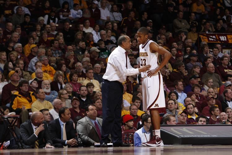 Tubby Smith with University of Minnesota senior forward Rodney Williams, in a 2012 photo.