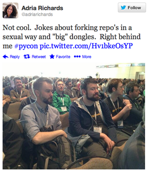 The photo that sparked a Silicon Valley scandal. SendMail Developer Evangelist Adria Richards tweeted this photo from the PyCon conference in Santa Clara. Within a week, both she and the developer had been fired.