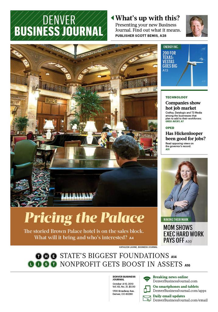 The cover of the Oct. 4-10 print edition of the Denver Business Journal -- the debut of our new look.