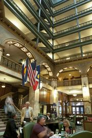 The lobby at The Brown Palace Hotel.