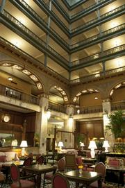 The Brown Palace Hotel lobby.