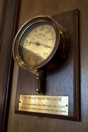 1892 Brass Pressure Gauge on display at The Brown Palace Hotel.