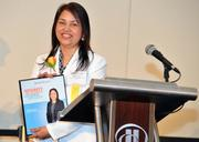 Renu Johri, president of Integral Consulting Services Inc., accepts her Minority Business Leader Award.