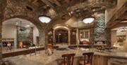 Intricate stonework is featured throughout the home.