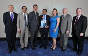 Minority Business Leader honoree Zia Islam, center, president and CEO of Zantech IT Services Inc., with his guests.