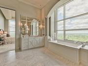 Maryland: The master bath features Carrara marble.
