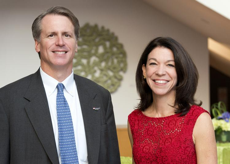 Banking on Our Community co-chairs Jim Kelligrew, left, and Lisa Decarlo at the Mint Museum on Thursday.