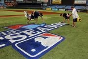 It takes the groundskeepers roughly five hours to do two logos on the field at Tropicana Field.