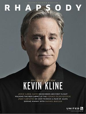 The debut issue of Rhapsody features a cover story about actor Kevin Kline.