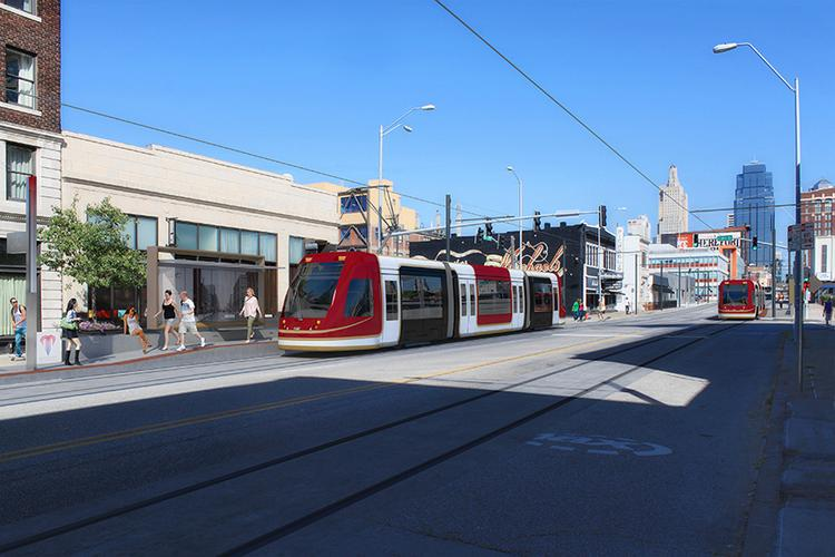 Kansas City's streetcar will be a red, black and white CAF Urbos 3.