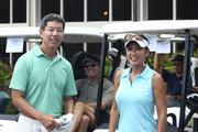 Mitchell Imanaka, left, golf chairman for the ninth annual Steve Hirano Memorial Classic Golf Tournament and an attorney with Parsons, Levin and Imanaka, and Sherry Menor-McNamara, president and CEO of the Chamber of Commerce of Hawaii.