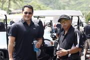 Ryan Nakaima, left, vice president of Nan Inc. and Lane Uchimura, executive vice president of Nan Inc. prepare to go out on the Mid Pacific Country Club golf course during the American Resort Development Asociation of Hawaii's ninth annual Steve Hirano Memorial Classic Golf Tournament. Proceeds benefit the Steve Hirano Memorial Scholarship Fund for outstanding travel industry management students at Hawaii Pacific University.