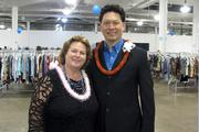 Goodwill Industries of Hawaii President and CEO Laura Smith and Bank of Hawaii Senior Vice President and Oahu Market Manager Malcolm Lau pose for a photo at the Goodwill Goes Glam! VIP event, sponsored by Bank of Hawaii, at the Neal S. Blaisdell Exhibition Hall.