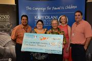 Clinical Labs of Hawaii gave $500,000 to Kapiolani Medical Center for Women & Children's Campaign for Hawaii's Children capital campaign,the biggest donation Clinical Labs has made to any organization in its 43-year history. From left, Michael Robinson, president, Kapiolani Health Foundation; Ally Park, CEO, Clinical Labs of Hawaii; Dr. Moon S. Park, founder, Clinical Labs of Hawaii; Martha Smith, CEO, Kapiolani Medical Center for Women & Children; Ray Vara, CEO, Hawaii Pacific Health.