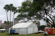 A tent is set up near a stage at Kuroda Field in Fort DeRussy in Waikiki where Oracle Corp. is sponsoring a private Stevie Wonder concert for its employees Saturday night.