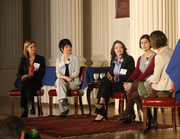 Business Journal Web editor Suzanne Stevens (far right) moderated a discussion on HR issues. The panel, from left, included Anne Donovan of Xenium HR, Monique Little of First Tech Federal Credit Union, Elaine House of Reser's Fine Foods and Monica Maxwell of DoveLewis.