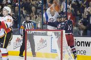 Marian Gaborik celebrates with Brandon Dubinsky (17) after scoring the Jackets' second goal of the opening period.