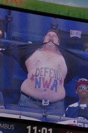 """With the third period getting underway, """"Dancing Kevin"""" Schroeder got the crowd pumped up when he appeared on the scoreboard to do his routine."""