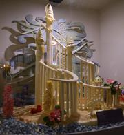 An undersea themed white chocolate castle is one of several chocolate sculptures on display in The Chocolate Experience: From Bean to the Bar in the festival center. If pastry chefs haven't earned a toast I don't know who has.