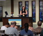 Silvina Barros of the Trivento winery holds a wine seminar in the Festival Center.