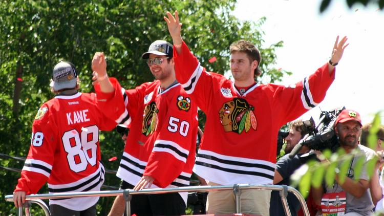 Chicago Blackhawks celebrate one of their two Stanley Cup victories in recent years.  The Hawks have passionate fans, just not as passionate as those in other cities.