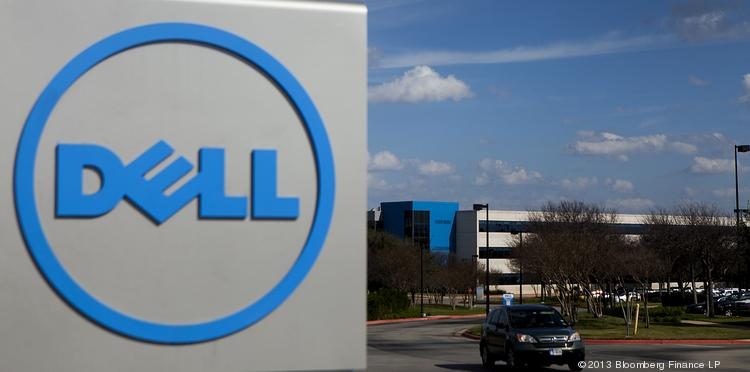 A car exits the Dell Inc. headquarters in Austin, Texas.