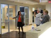 Dr. Generosa Grana, director of the cancer center, shows of a private chemotherapy treatment room