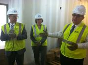 From left, St. Vincent's Clay County President Blain Claypool, director of operations Tracy Williams and construction manager Barry Darnell speak to the media at a tour of the hospital construction site.