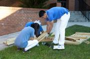 Volunteers Build Vegetable Garden Containers for Boyd Elementary School at Hands On Atlanta Day.