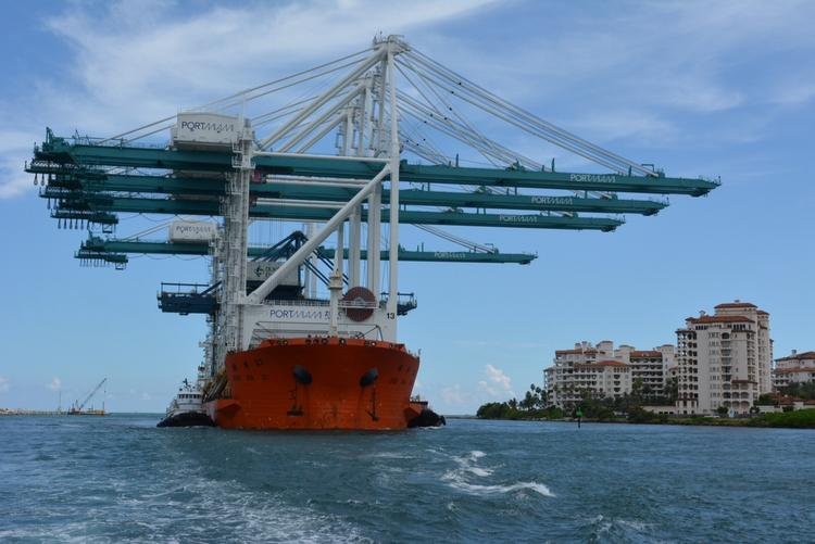 The four Super post-Panamax Cranes are delivered to PortMiami on Monday.