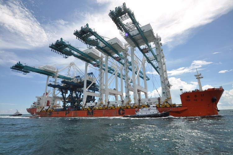 Four Super post-Panamax Cranes are delivered to PortMiami on Oct. 7, 2013.