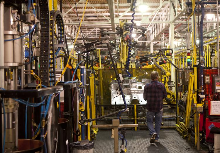File photo of a Ford factory. The U.S. economy grew at 2.8 percent in the third quarter.