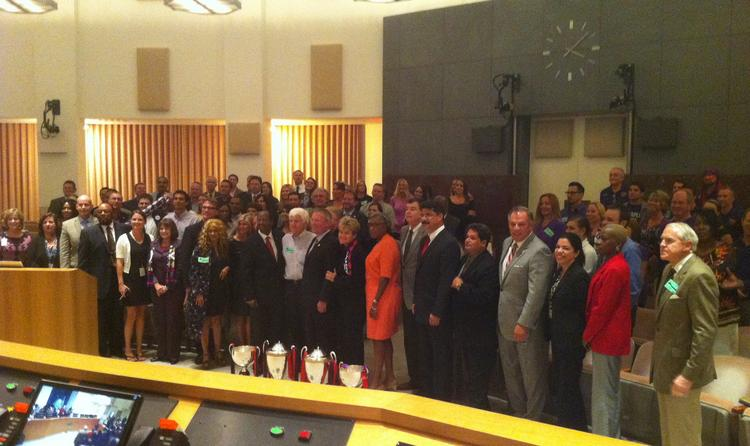 City of Orlando leaders and Orlando venues supporters gather to celebrate the Orlando Council's unanimous passing of the Orlando venues $94.5 million funding plan.