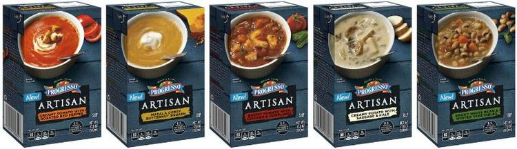 Progresso's new Artisan Soups come in cartons, not cans.