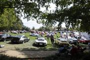 A row of Porsches is seen on a hill at the Niello Concours at Serrano in El Dorado Hills.