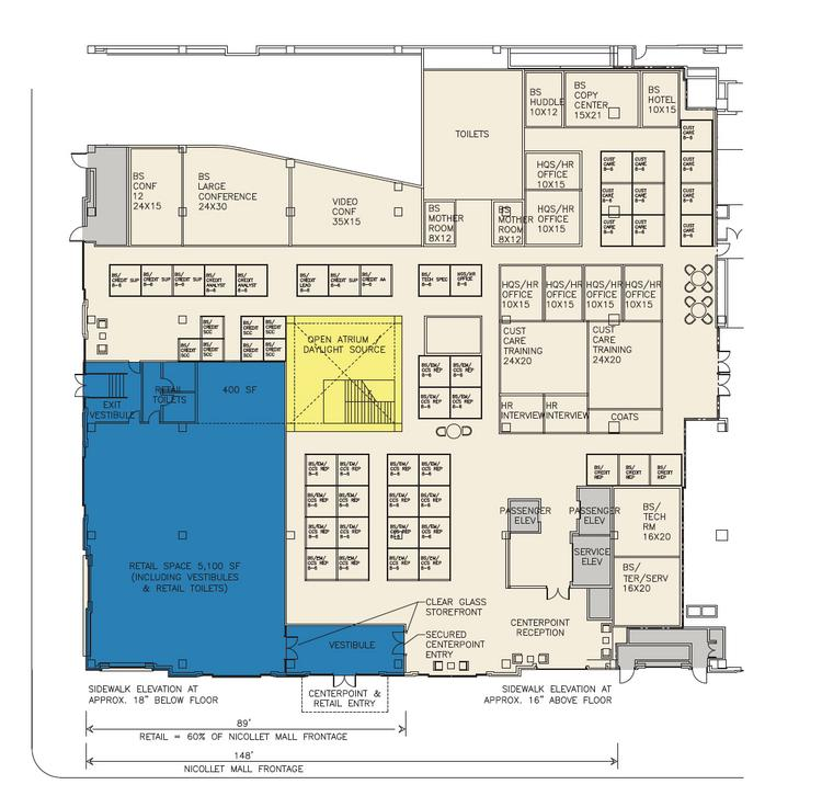 A revised first floor layout proposed by CenterPoint for the former Neiman Marcus store on Nicollet Mall. The blue shaded area, which is designated as retail space, may become a new Minneapolis visitors center operated by Meet Minneapolis.