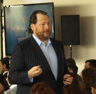 Salesforce CEO Marc Benioff addresses a full room at Boston's State Room. At the second stop, after NYC, on his Customer Company tour, Benioff focused on Salesforce's work with Obama's re-election campaign.