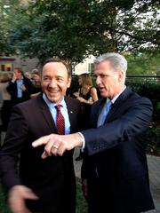 Actor Kevin Spacey, left, and Rep. Kevin McCarthy, majority whip and California Republican.