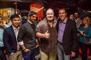 From left, KABIN partners Dustin Huynh and Vinoda Basnayake, Dennis Haskins and ABC 7 anchor Scott Thuman.
