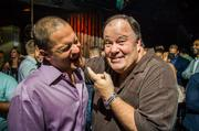 """On Oct. 2, """"Saved by the Bell"""" star Dennis Haskins, known as Mr. Belding on the show, hosted KABIN's first-ever Decades happy hour, a weekly Wednesday night dance party during which every hour of music corresponds with a different era. KABIN manager Chris Glump, left, with Haskins."""