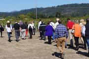 The Best in Business group, after an initial tasting, headed out to the vineyard, led by co-owner and winemaker Pam Starr.
