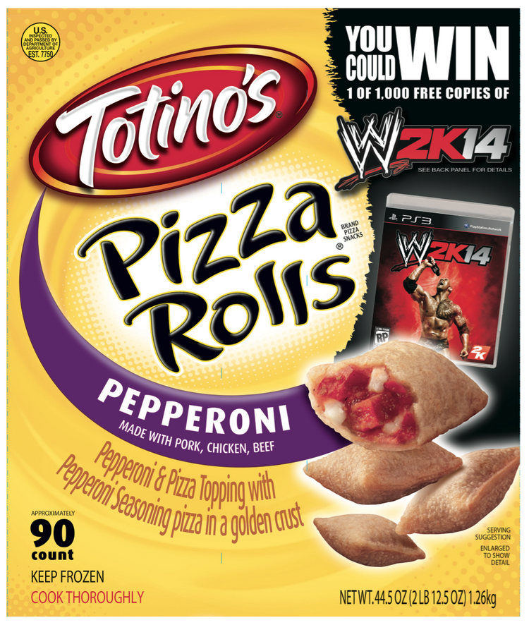 The sponsorship deal includes a promotion for a WWE video game on Totino's Pizza Rolls packages.