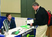 Elliot Kahn, left, of SolePower and Gary Burgess of Engineering & Inspections.