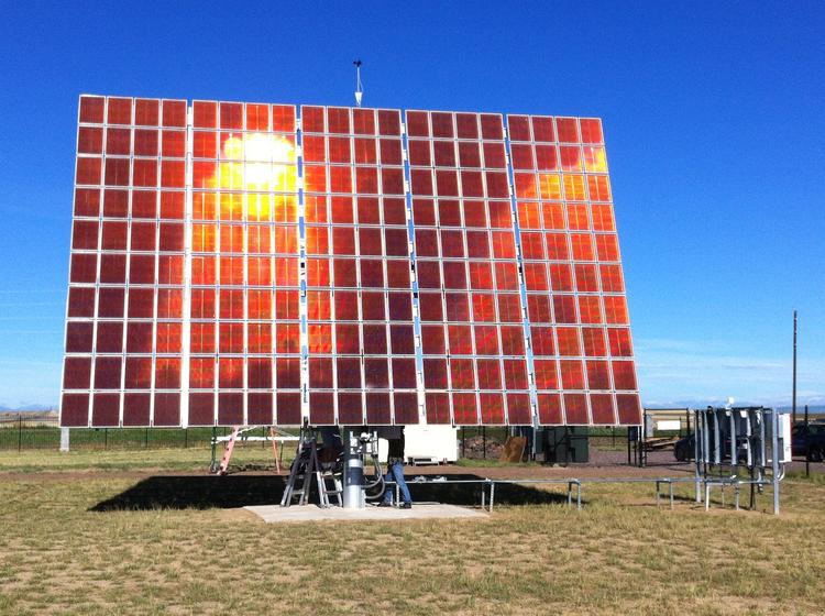 Aerojet Rocketdyne is demonstrating a large commercial-scale photovoltaic control system that can help more efficient panels generate more electricity cheaper and in less space than traditional flat-panel arrays. The high concentration photovoltaic modules are being tested at the Solar Technology Acceleration Center in Aurora, Colo.