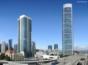 An artists rendering of 45 Lansing on left, with One Rincon on right