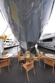 Take a rest and grab a seat right under the bow of the 223-foot Kismet.
