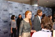 "Actors Sophie Turner (left) and Nikolaj Coster-Waldau, who play Sansa Stark and Jaime Lannister on HBO's hit series ""Game of Thrones,"" take questions from the media during a red carpet event at the Cinerama theater in Seattle March 21."