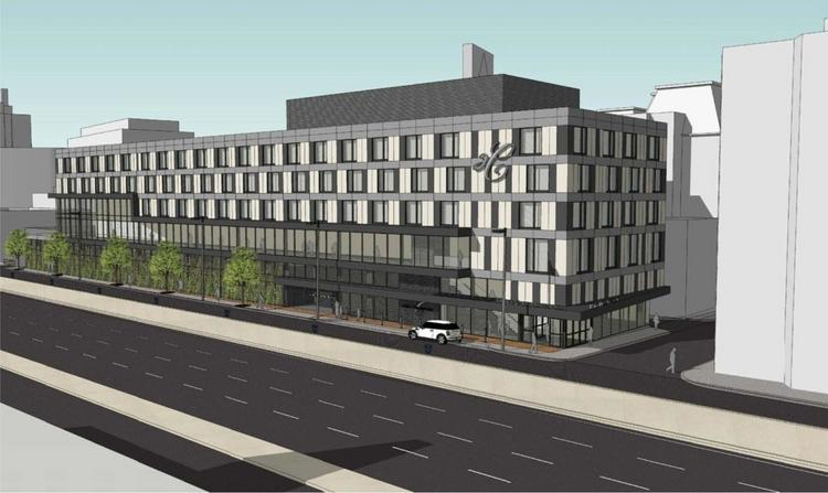 An artist rendering of the expanded Hotel Commonwealth in Boston's Kenmore Square.