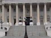 With the federal government shut down, the Capitol is a lonely place. One office mans the Capitol steps.