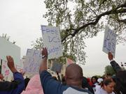 Protestors demanded that Congress decouple the federal and D.C. budgets during a rally at the U.S. Capitol Wednesday.